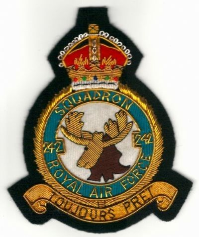 No. 242 Squadron Royal Air Force RAF GOLD WIRED Blazer Embroidered Badge